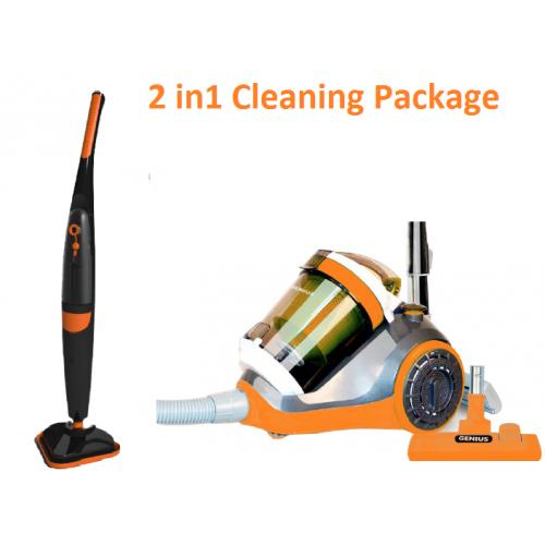 2 in 1 1500w Steam Mop & 2400w Bagless Vacuum Cleaner (Orange)