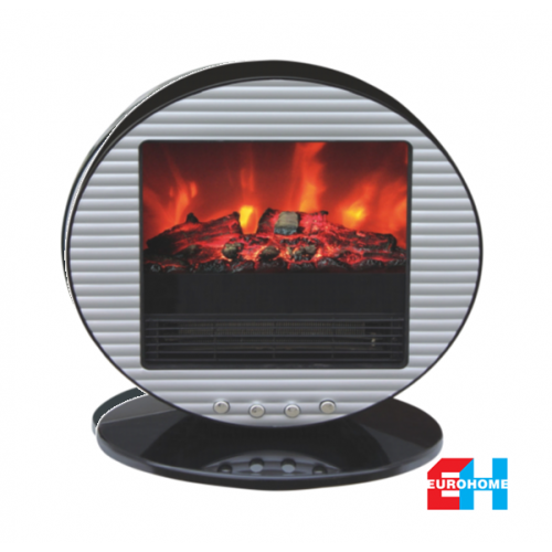 EuroHome Spherical Silver Electric Portable Fireplace
